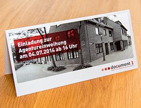 Einladungskarte zur Agentureinweihung