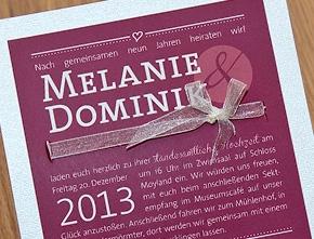 Hochzeitseinladungskarte Melanie & Dominik